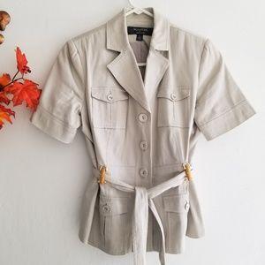 Tan Sleeveless Safari Jacket